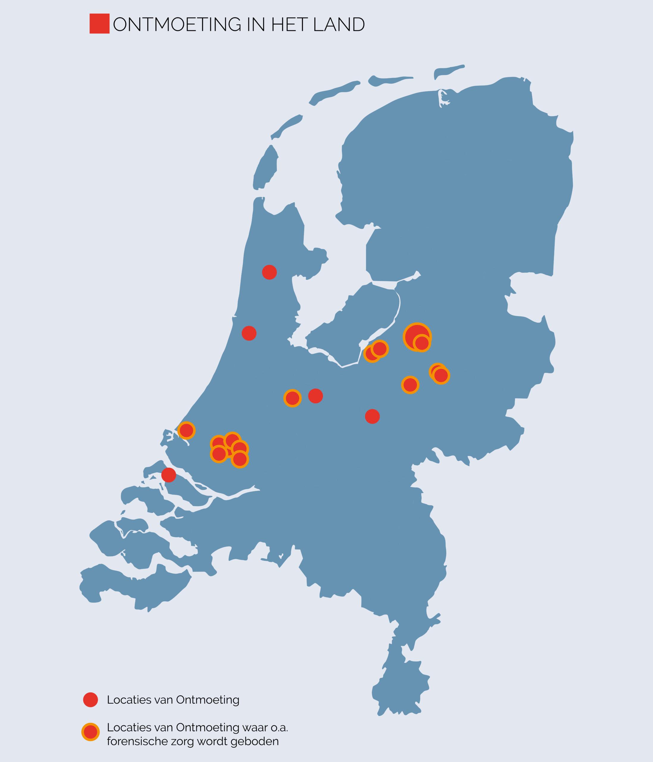 Forensische zorg na detentie landkaart Nederland